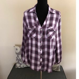 New York & Company Purple Plaid Top Size XL